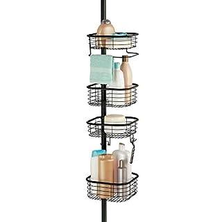 mDesign Duschregal ohne Bohren - praktischer Shower Caddy für die Ecke aus Metall und Kunststoff - ausziehbare Duschablage mit 4 Körben für Shampoo und Conditioner mit Handtuchstange - schwarz