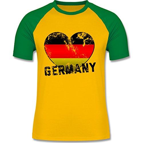 EM 2016 - Frankreich - Germany Herz Vintage - zweifarbiges Baseballshirt für Männer Gelb/Grün