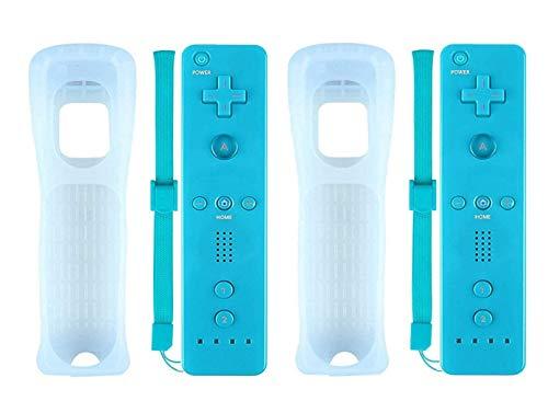SIBIONO-Wii Lot de 2 télécommandes pour manettes de Jeu vidéo Nintendo Wii&Wii U (No Motion Plus). Bleu