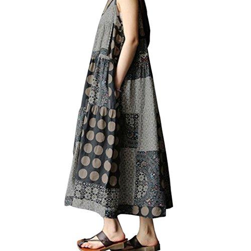 Yanhoo Frauen Vintage Sommer ärmellose Leinen Riemchen Lose Bohe Print Langes Kleid Plus Größe Baumwolle und Leinen S-5XL (Grau, L3)