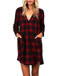 YULAND Crop Tops Damen Bekleidung Oberteile Damen Langarmshirt Damen Blusen  Frauen Plaid Long Sleeve beiläufige Lose ca26a3187f