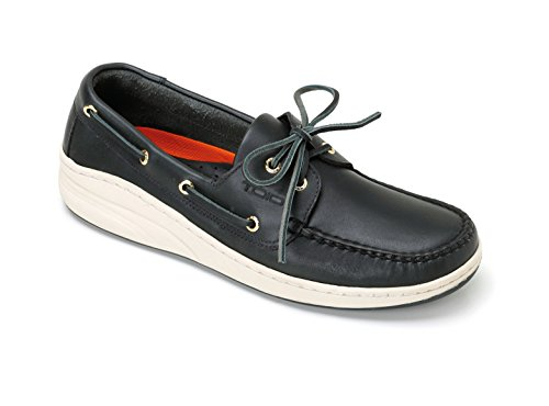 TOIO Mens Marine Shoe Mocassin Handcrafted 100% Leather Navy Rubber Sole with Anti-Slip Tread Leather Boat Show with Laces and Eyelets