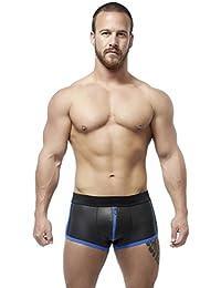 Mister B Néoprène Full Zip Shorts - Shorts Zip à 3 Glissières, Noir/Bleu, X-Small