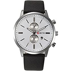 Tonsee NORTH Fashion Slim Pu Leather Band Analog Quartz Watches Wrist Watch