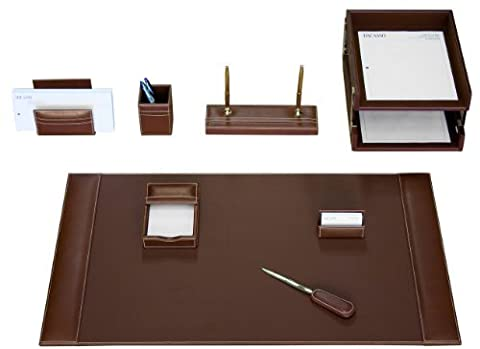 Dacasso Rustic Brown Leather Desk Set, 10-Piece by Dacasso