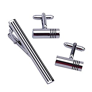 HONG-Accessories Herren-Manschettenknöpfe für Krawatten-Set