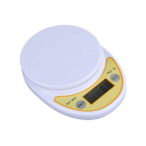 5kg WH-B04W / 1g Escala de cocina electrónica LCD de pantalla digital Alimentación escala de parcela La balanza con plato censhaorme