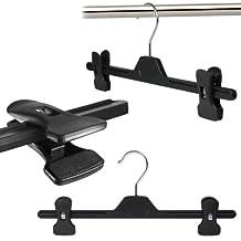 Hangerworld- 10 Grucce appendiabiti con clip in plastica nera per gonne e pantaloni- 34 cm