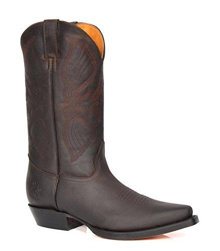 House of Luggage Herren Echtes Leder Cowboy Stiefel Wadenlänge Westernabsatz überstreifen Spitze Schuhe HLG10LO (EU 44, Braun)