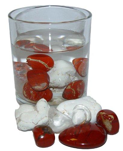 200 Gramm Edelsteinwasser Vital Wasserstein Mischung Set aus Magnesit Jaspis rot und Bergkristall zur Wasseraufbereitung