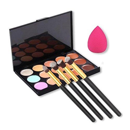 Spugna Trucco Culater®15 colori di contorno Concealer + 4pcs polvere spazzole + Spugna Blender