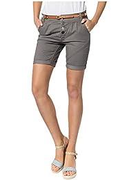 SUBLEVEL Damen Chino-Shorts mit Flecht-Gürtel | Leichte Bermuda | Kurze Hose in Schwarz, Weiß, Grau & Rosé