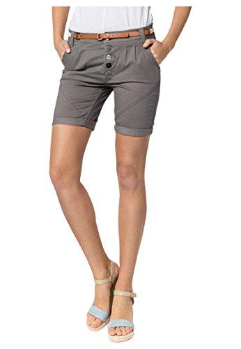 SUBLEVEL Damen Chino-Shorts mit Flecht-Gürtel | Leichte Bermuda | Kurze Hose in Schwarz, Weiß, Grau & Rosé dark-grey L