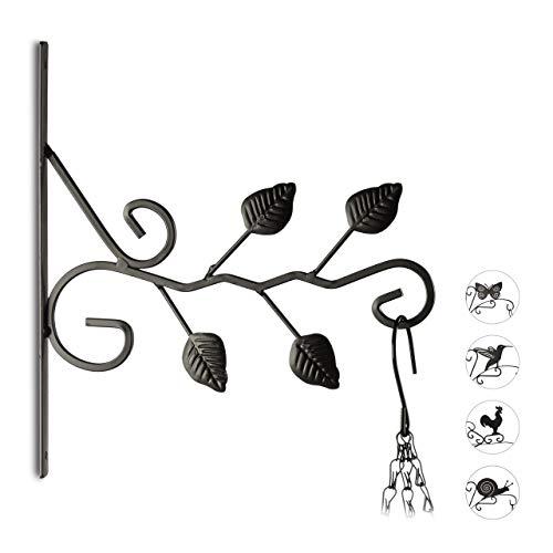Relaxdays Blumenhaken mit Blätter-Motiv, Halter für Wand, Pflanze, Blumenampel, Garten, HxBxT: 30,5 x 28 x 2 cm, schwarz