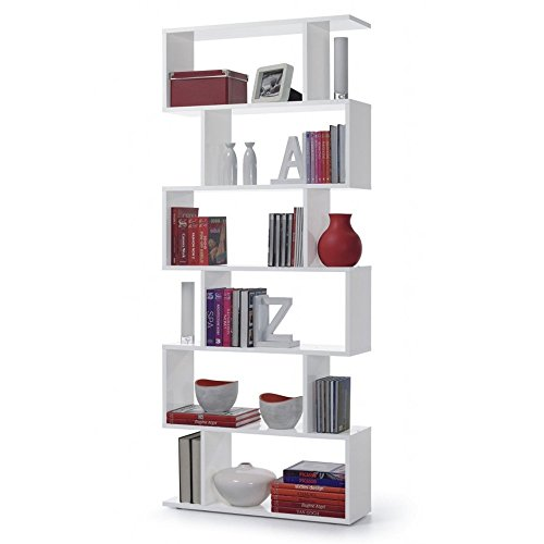 Links - Kafka a8 libreria. Dim. 80x25x192h - melamina bianco lucido