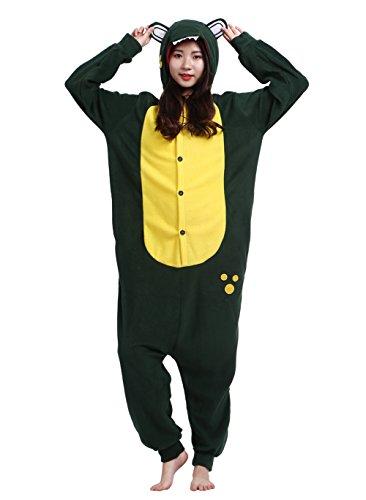 Männer Damen Pyjama Kostüm Overall Plüschoverall Tier Verkleidung für Erwachsene Grüner ()