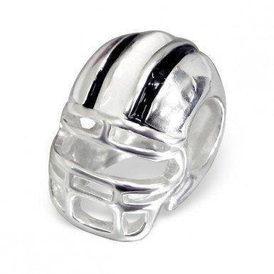 Rugby Helm Anhänger Sterling-Silber 925 Perle für Pandora Style Charm-Tolles Motiv Helm American Football, Schwarz