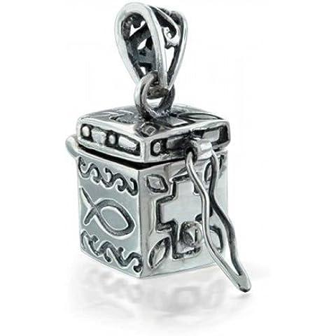 Bling Jewelry Antique Box Veleno Locket di preghiera del pendente Ichthys Croce - Veleno Box Locket