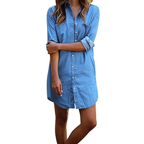 West See Damen Langarm Lose Denim Minikleider Jeanskleider Tshirts Bluse Tops Freizeit (EU 40(Etikettgrößer XXL), Blau)