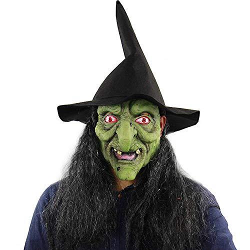 RainBabe Halloween Maske mit Haaren Hexe Hut für Halloween Kostüm Party Geisterfest