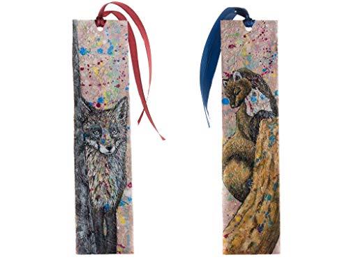 Zwei Papier Lesezeichen beidseitig bemalt mit einem Fuchs und einem Baummarder -
