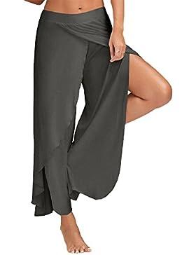 ZhuiKun Pantalones Mujer Ancho Pierna Palazzo Pantalones Cintura Elástica Holgados Flojos Suave Pantalones de...