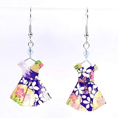 Boucles d'oreilles robes origami violettes et dorées - crochets inox