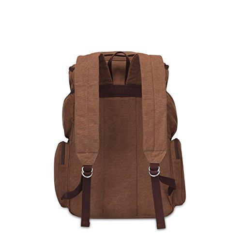 Bwiv Rucksäcke Canvas Unisex Schulrucksack Vintage Schultertasche Daypack Outdoor Backpack Damen Herren Tasche für Retro Reisetaschen Lässige B · Braun B · Braun