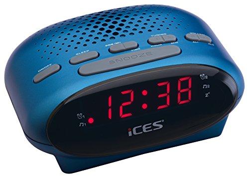 iCES ICR-210 Uhrenradio (2X Weckzeiten, Schlummerfunktion, Sleeptimer) blau