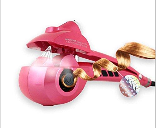 Automatischer Dampf-Spray-Lockenwickler, Turmalin-keramischer Lockenstab, Selbstdrehender anredender Haar-Lockenwickler, Salon-Fachmann-Haarpflege, LED-Digitalanzeige (Color : Rosa)