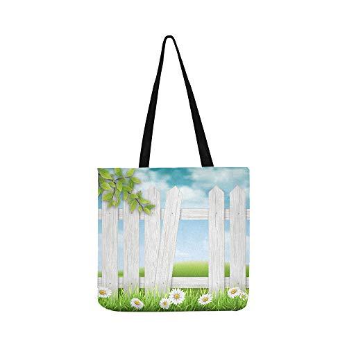 Handtasche/Umhängetasche, Blumenmotiv, Holz, mit gebrochener Planke, für Damen und Herren, Weiß