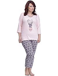 Merry Style Pijamas Tallas Grandes Plus Size Conjunto Camisetas Mangas 3/4 y Pantalones Largos 7/8 Ropa de Cama Interior Lencería Mujer…