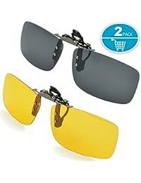SPLAKS Polarized Lens, Unisex Polarized Frameless Rectangle Lens Flip Up Clip on Prescription Sunglasses Eyeglass, 2-Piece clip on glasses + Night Vision Glasses - Black