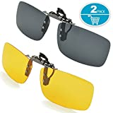 Polarized Lens, Splaks Unisex Polarized Frameless Rectangle Lens Flip Up Clip on Prescription Sunglasses Eyeglass, 2-Piece clip on glasses + Night Vision Glasses - Black