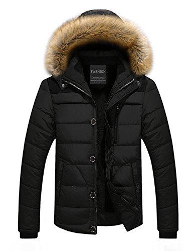 Menschwear Herren Winter Warme Jacke Daunenjacke Daunenjacke mit abnehmbarem Pelzkragenskapuze schlanke Passform XS-3XL Schwarz