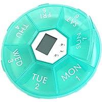 OUNONA Pillendose Tablettenbox 7 Tage mit LED-Licht Pille Erinnerung Mediplanner (Grün) preisvergleich bei billige-tabletten.eu