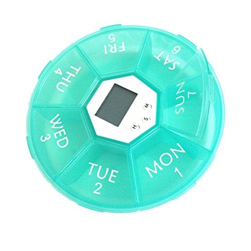 OUNONA Pillendose Tablettenbox 7 Tage mit LED-Licht Pille Erinnerung Mediplanner (Grün)