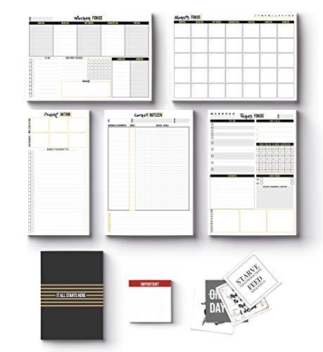 2019 Planer - 11-teiliges GET PRODUCTIVE SET by Mille Sanders - 5 Planerblöcke + 1 Notizheft + 1 Haftnotizblock + 4 Sticker - Tagesplaner, Wochenplaner, Monatsplaner, Cornell Notizen, Aufgabenplaner