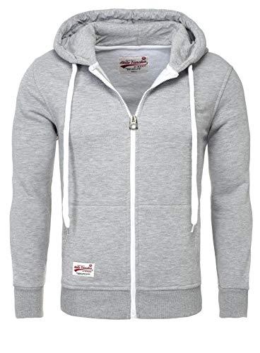 AKITO TANAKA Herren Sweatjacke Zip Hoodie Sweatshirt 18110 Sweater mit Kapuze Reißverschluss slim fit kontrast look, Grösse:S;Farbe:Grau -