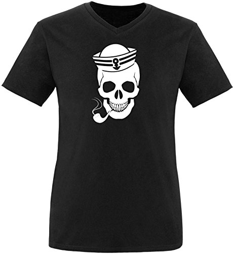 ezyshirt® Skipper Skull Herren V-Neck T-Shirt Schwarz/Weiss