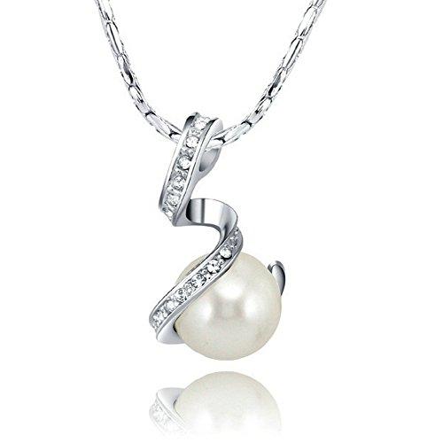 Yoursfs Perle Halskette für Frauen/18K Weißgold überzogen (Gefälschte Gold Ketten Kostüm)
