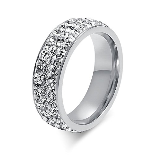 Edelstahl Ringe, Damen Ring Silber Glanz Damenring Elegant Fingerring 7MM mit Zirkonia Für Hockzeit Verlobung Party - Epinki Gr.54 (17.2)