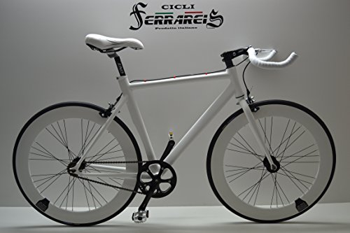 FIXED BIKE SINGLE SPEED BICICLETA SINGLE SPEED BICICLETA FIJACION FIJO BLANCA DE ALUMINIO