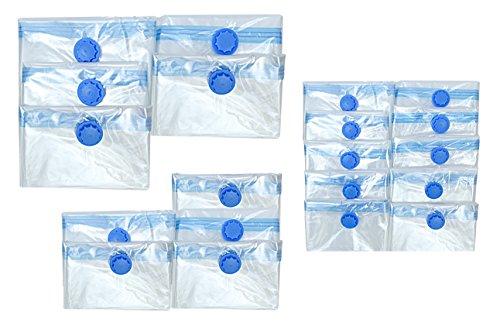 Ilp sacchetti salvaspazio sottovuoto in set da 20 pz. 70 x 120, 60 x 80 & 40 x 60 cm per indumenti, vestiario e tessuti