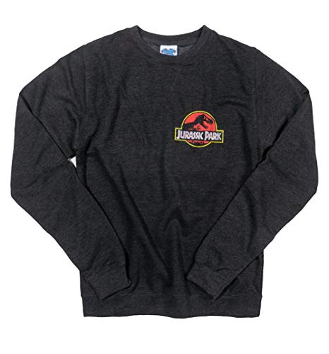TruffleShuffle Jurassic Park Ranger Back Print Black Heather Sweater Screen-print Sweatshirt