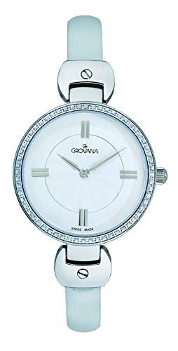 Grovana Women's Quartz Watch with Silver Dial Analogue Display and White Leather Strap 4481.7532