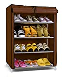 #8: House of Quirk 4-5 Layer Maroon Shoe Rack Organizer (Brown)