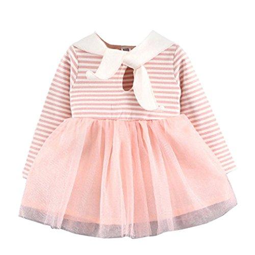 ropa bebe niña invierno 2017 KOLY otoño recién nacido bebé vestidos nina fiesta baratos ropa de nina en oferta manga larga Tutú princesa vestido del Vendaje de conejo (100, Rosa)