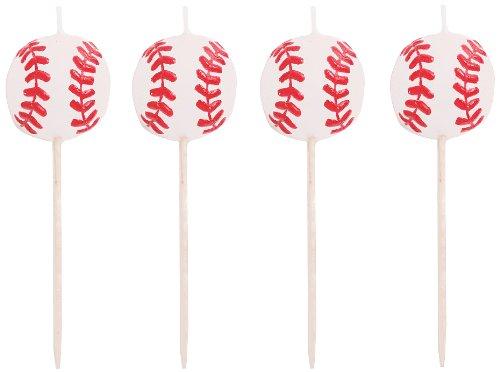 4Zählen Sports Fanatic Baseball Form Pick Kerzen (Baseball Halloween Kostüme Spiel)
