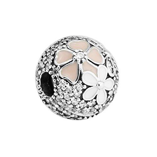 Funshopp europea primavera rosa poetic bloom cz clip argento 925originale diy adatto per pandora braccialetti charm jewelry